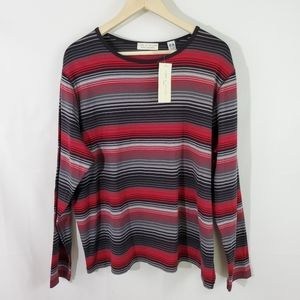NEW Lord & Taylor Red/Black Striped Crewneck Top